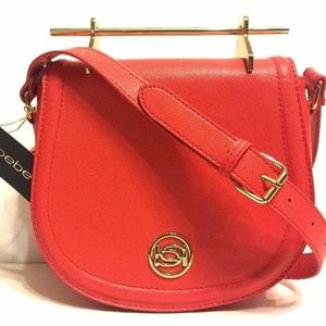 bebe Lily Crossbody Saddle Purse Red NWT